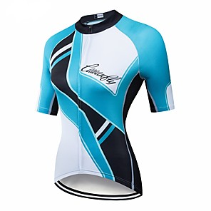 cheap Cycling Jerseys-CAWANFLY Women's Short Sleeve Cycling Jersey Blue / Black Geometic Bike Jersey Top Mountain Bike MTB Road Bike Cycling Breathable Quick Dry Back Pocket Sports Clothing Apparel / Advanced / Expert