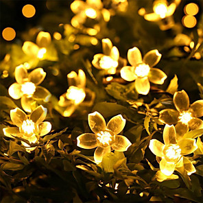 cheap LED String Lights-7m Cherry Blossoms String Lights 50 LEDs 1Set Mounting Bracket Warm White RGB White Blue Waterproof Solar Outdoor Night Light Cute Solar Powered 1 set