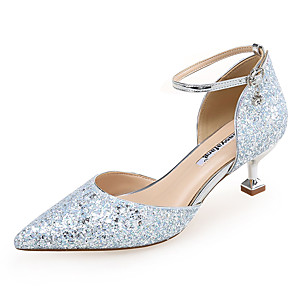 cheap Women's Heels-Women's Heels Glitter Crystal Sequined Jeweled Kitten Heel Pointed Toe Buckle Synthetics Sweet / Minimalism Spring & Summer Nude / Light Blue / Party & Evening / Party & Evening