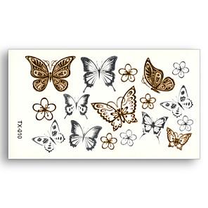 cheap Tattoo Stickers-10 pcs Flower Butterfly Fake tattoo pattern Metallic Gold Sliver Waterproof Temporary Stickers Water Transfer Sexy Beauty Body Art
