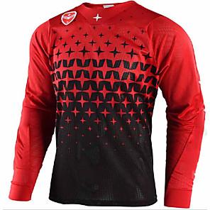 cheap Cycling Jerseys-21Grams Men's Long Sleeve Cycling Jersey Dirt Bike Jersey Winter Fleece Black / Red Bule / Black Bike Jersey Pants Top Mountain Bike MTB Road Bike Cycling UV Resistant Breathable Quick Dry Sports