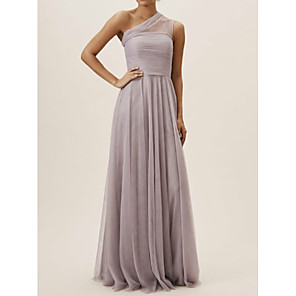 cheap Bridesmaid Dresses-A-Line One Shoulder Floor Length Chiffon Bridesmaid Dress with Pleats / Open Back