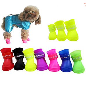 cheap Dog Collars, Harnesses & Leashes-Dogs Dog Boots / Dog Shoes Rain Boots Waterproof Solid Color Cute For Pets Silicone Rubber PVC Black