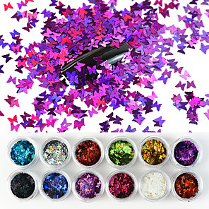 cheap Rhinestone & Decorations-12 Colors/Set Laser Butterfly Nail Art Sequin Sparkle Acrylic Paillettes Holographic Glitter Flakes Tips 3D UV Gel Nail Polish Decorations