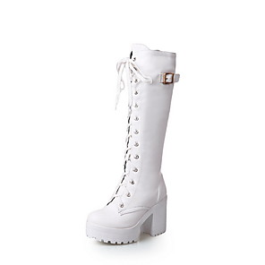 cheap Women's Boots-Women's Boots Knee High Boots Chunky Heel Round Toe PU Knee High Boots Fall & Winter Black / White