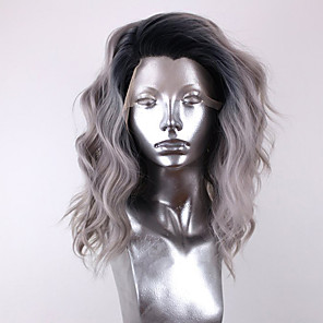 cheap Synthetic Lace Wigs-Synthetic Lace Front Wig Wavy Side Part Lace Front Wig Ombre Short Ombre Color Synthetic Hair 12-16 inch Women's Adjustable Heat Resistant Party Gray Ombre