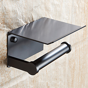 cheap Vessel Sinks-Bathroom Paper Holder with Shelf Black Wall Mounted Creative Mobile Phone Paper Towel Holder Decorative Roll Holder
