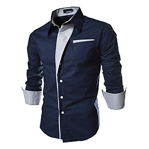 cheap Cell Phone Charms-Men's Plus Size Shirt Solid Colored Basic Slim Tops Spread Collar White Black Red / Spring / Fall / Long Sleeve