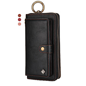 cheap iPhone Cases-Multifunction Wallet Genuine Leather Case For iPhone 11 Pro Max XR XS Max 8 Plus 7 Plus 6 Plus Shockproof Solid Colored Cases
