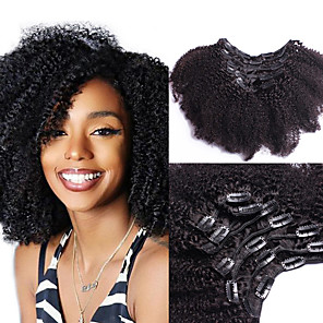 cheap Synthetic Lace Wigs-Clip In Hair Extensions Human Hair 7 PCS Pack Curly Natural Hair Extensions / Odor Free