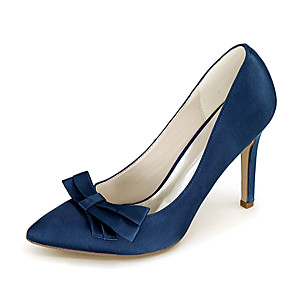 cheap Wedding Shoes-Women's Wedding Shoes Stiletto Heel Pointed Toe Bowknot Satin Minimalism Fall / Spring & Summer Black / White / Purple / Party & Evening