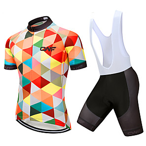 cheap Triathlon Clothing-CAWANFLY Women's Short Sleeve Cycling Jersey with Bib Shorts Mint Green Plaid / Checkered Bike Clothing Suit 3D Pad Quick Dry Winter Sports Spandex Lycra Plaid / Checkered Mountain Bike MTB Road Bike