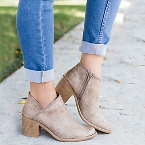 cheap Women's Boots-Women's Boots Chunky Heel Round Toe PU Booties / Ankle Boots Winter Brown / Gray / Khaki