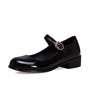 cheap Women's Sandals-Women's Flats Chunky Heel Round Toe PU Spring & Summer Black / Wine / Blue / Party & Evening