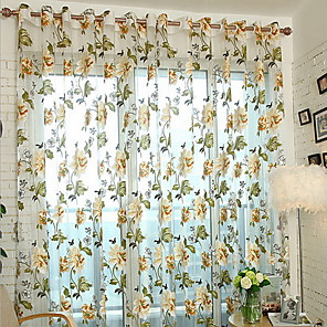 cheap Curtains & Drapes-Floral Sheer One Panel Sheer Girls Room   Curtains