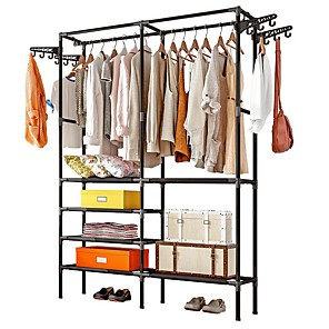 cheap Clothing Storage-Free-Standing Closet Garment Rack Made of Sturdy Iron with Spacious Storage Space,  Clothes Hanging Rods, Heavy Duty Clothes Organizer for Bedroom, Entryway
