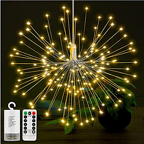 cheap LED String Lights-1set 180LEDs DIY LED Fairy String Light 8 Modes Hanging Starburst Holiday Light with Remote Control Decoration Outdoor Twinkle Light