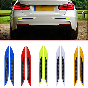 cheap Car Body Decoration & Protection-2pcs/lot 3D Car Reflective Tail Anti-Collision Strips Carbon Fiber Bumper Strips Safety Warning Tape Secure Reflector Stickers Decor