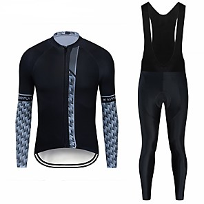 cheap Cycling Jersey & Shorts / Pants Sets-CAWANFLY Men's Long Sleeve Cycling Jersey with Bib Tights Black Geometic Bike Clothing Suit UV Resistant Quick Dry Winter Sports Lycra Geometic Mountain Bike MTB Road Bike Cycling Clothing Apparel