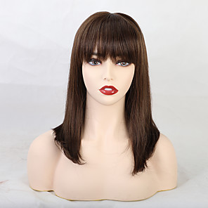 cheap Synthetic Trendy Wigs-Human Hair Blend Wig Medium Length Straight Natural Straight Neat Bang With Bangs Black Blonde New Fashion African American Wig Capless Women's All Natural Black #1B Chestnut Brown Medium Auburn