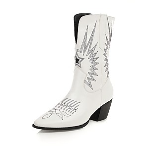 cheap Women's Boots-Women's Boots Cowboy / Western Boots Chunky Heel Square Toe PU Mid-Calf Boots Vintage Fall & Winter Black / White / Party & Evening