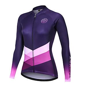 cheap Cycling Jerseys-Nuckily Women's Cycling Jersey Bike Motorcyle Clothing Winter Fleece Jersey Warm Sports Gradient Geometic Fleece Elastane Winter Purple Mountain Bike MTB Clothing Apparel Regular Fit Bike Wear