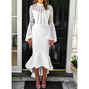 cheap Party Sashes-Mermaid / Trumpet Elegant White Party Wear Cocktail Party Dress High Neck Long Sleeve Asymmetrical Chiffon with Lace Insert 2020
