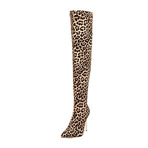 cheap Women's Boots-Women's Boots Over-The-Knee Boots Chunky Heel Pointed Toe Rhinestone Elastic Fabric Over The Knee Boots Classic Fall & Winter Black / Leopard / Silver / Party & Evening