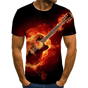 cheap Indoor Wall Lights-Men's Plus Size Graphic Flame Pleated Print T-shirt Street chic Exaggerated Daily Going out Round Neck Red / Summer / Short Sleeve