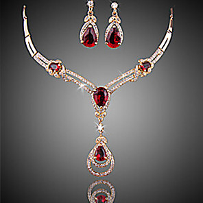 cheap Jewelry Sets-Women's Red Cubic Zirconia Hoop Earrings Choker Necklace Hollow Out Heart Baroque Gold Plated Earrings Jewelry bright red / Black For Wedding Party 1 set