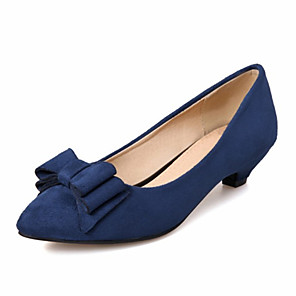 cheap Wedding Shoes-Women's Heels Cuban Heel Pointed Toe Bowknot Synthetics Spring &  Fall Black / Red / Blue