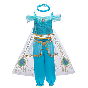 cheap Movie & TV Theme Costumes-Princess Jasmine Outfits Flower Girl Dress Girls' Movie Cosplay A-Line Slip Halloween Christmas Blue Dress Pants Cloak Christmas Halloween Carnival Polyster Mixed Material / Headband / Headband