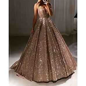 cheap Eyeshadows-Ball Gown Sparkle Gold Quinceanera Prom Dress V Neck Sleeveless Sweep / Brush Train Sequined with Pleats Sequin 2020