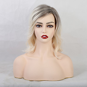 cheap Synthetic Trendy Wigs-Human Hair Blend Wig Medium Length Curly Natural Wave With Bangs Blonde Multi-color Fashionable Design Party Color Gradient Capless Women's All Medium Brown / Strawberry Blonde 14 inch