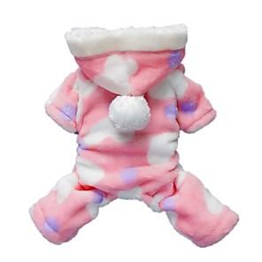 cheap Dog Clothes-Cat Dog Hoodie Jumpsuit Pajamas Polka Dot Casual / Daily Winter Dog Clothes Black Pink Costume Polar Fleece S M L XL XXL