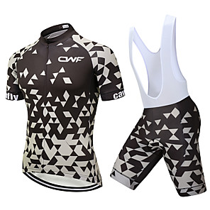 cheap Cycling Jersey & Shorts / Pants Sets-CAWANFLY Men's Short Sleeve Cycling Jersey with Bib Shorts Black Geometic Bike Clothing Suit 3D Pad Quick Dry Winter Sports Spandex Lycra Geometic Mountain Bike MTB Road Bike Cycling Clothing Apparel