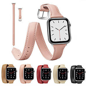 cheap Smartwatch Bands-Slim Genuine Leather Watch Band Double Tour Strap For Apple Watch Series 5 4 3 2 1