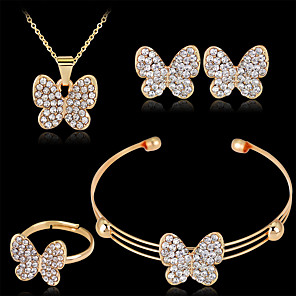cheap Jewelry Sets-Women's Stud Earrings Pendant Necklace Bracelet 3D Butterfly Luxury Unique Design Fashion Gold Plated Earrings Jewelry Gold For Wedding Party Holiday 1 set / Bridal Jewelry Sets / Open Ring