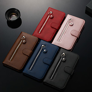 cheap Samsung Case-Case For Samsung Galaxy A7(2018) / A10(2019) / A50(2019) Wallet / Card Holder / with Stand Full Body Cases Solid Colored PU Leather for A10 / A20/A30 / A40 / A50 / A60 / A70 / A20E / A7(2018)