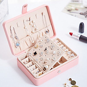 cheap Jewelry & Cosmetic Storage-Fantastic Boom Jewelry Box, Travel Jewelry Organizer for Women, Double Layer Jewelry Travel Organizer, PU Leather Jewelry case for Earrings, Necklaces, Bracelets, Rings,