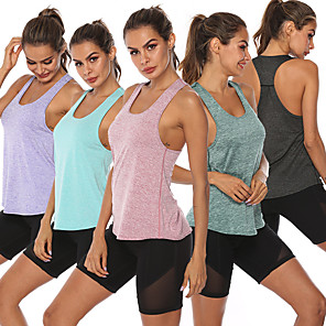 cheap Women's Running Shirts-Women's Sleeveless Workout Tank Top Running Tank Top Running Singlet Racerback Vest / Gilet Winter Cotton Lightweight Breathable Yoga Fitness Gym Workout Running Sportswear Solid Colored Amethyst