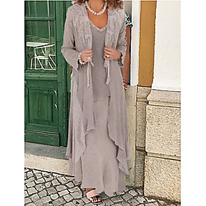 cheap Earrings-Two Piece A-Line Mother of the Bride Dress Wrap Included Jewel Neck Floor Length Chiffon Long Sleeve with Appliques 2020