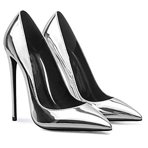 cheap Women's Heels-Women's Heels Stiletto Heel Pointed Toe Patent Leather Spring &  Fall Red / Silver