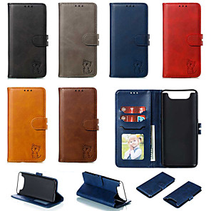 cheap Samsung Case-Case For Samsung Galaxy Galaxy A7(2018) / Galaxy A10(2019) / Galaxy A30(2019) Wallet / Card Holder / with Stand Back Cover / Full Body Cases Solid Colored / Cat PU Leather