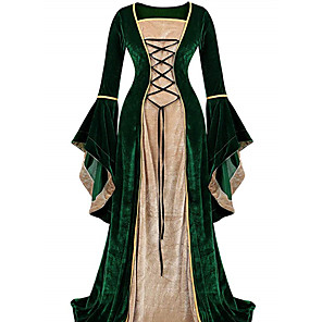 cheap Historical & Vintage Costumes-Retro Vintage Medieval Dress Women's Velvet Costume Black / Purple / Green Vintage Cosplay Party Prom Long Sleeve Floor Length Long Length