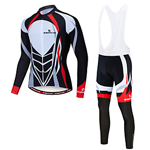 cheap Cycling Jersey & Shorts / Pants Sets-EVERVOLVE Men's Long Sleeve Cycling Jersey with Bib Tights Winter Fleece Lycra Black White Bike Clothing Suit Quick Dry Sweat-wicking Sports Mountain Bike MTB Road Bike Cycling Clothing Apparel