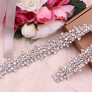 cheap Party Sashes-Satin / Tulle Wedding / Party / Evening Sash With Rhinestone / Belt / Appliques Women's Sashes