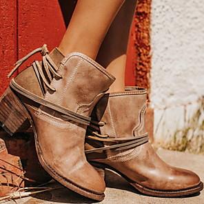 cheap Women's Boots-Women's Boots Comfort Shoes Chunky Heel Round Toe PU Mid-Calf Boots Winter Black / Dark Brown / Beige