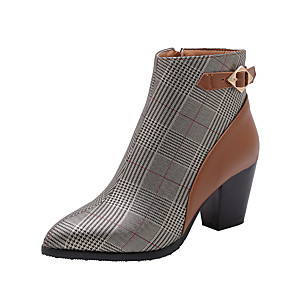 cheap Women's Sandals-Women's Boots Block Heel Pointed Toe Classic Casual Daily Office & Career Buckle PU Booties / Ankle Boots Black / Brown