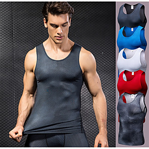 cheap Running & Jogging Clothing-YUERLIAN Men's Compression Tank Top Athletic Spandex Breathable Quick Dry Sweat-Wicking Exercise & Fitness Basketball Running Sportswear Plus Size Tank Top Base Layer Top White Black Red Blue Grey